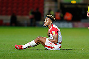Mallik Wilks of Doncaster Rovers shows his frustration to the officials during the EFL Sky Bet League 1 match between Doncaster Rovers and Bristol Rovers at the Keepmoat Stadium, Doncaster, England on 26 March 2019.