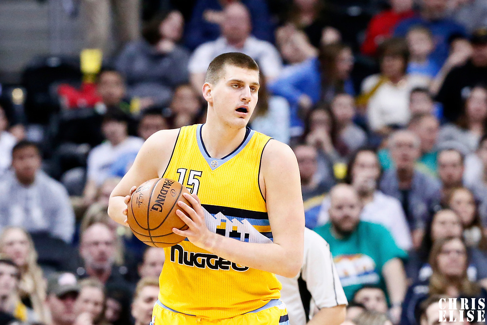 04 March 2017: Denver Nuggets forward Nikola Jokic (15) looks to pass the ball during the Charlotte Hornets 112-102 victory over the Denver Nuggets, at the Pepsi Center, Denver, Colorado, USA.