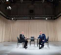 "27.11.2016, ATV Studio, Wien, AUT, ATV Diskussion ""Meine Wahl - Das Duell"" anlässlich der Präsidentschaftswahl 2016, im Bild v.l.n.r. Präsidentschaftskandidat Alexander Van der Bellen und FPÖ-Präsidentschaftskandidat Norbert Hofer // f.l.t.r. Candidate for Presidential Elections Alexander Van der Bellen and Candidate for Presidential Elections Norbert Hofer (Austrian Freedom Party) before television confrontation beetwen top candidates for the austrian presidential elections in Vienna, Austria on 2016/11/27, EXPA Pictures © 2016, PhotoCredit: EXPA/ Michael Gruber"