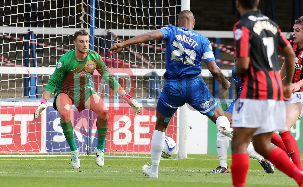 Peterborough United's Tyrone Barnett scores the opening goal - Photo mandatory by-line: Joe Dent/JMP - Tel: Mobile: 07966 386802 05/10/2013 - SPORT - FOOTBALL - London Road Stadium - Peterborough - Peterborough United V Preston North End - Sky Bet League 1