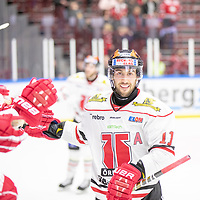 2019-01-05 | Malmö, Sweden: 11 Aaron Palushaj after scoring 2-3 during the game between Malmö Redhawks and Örebro Hockey at Malmö Arena ( Photo by: Roger Linde | Swe Press Photo )<br /> <br /> Keywords: Malmö Arena, Malmö, Icehockey, SHL, Malmö Redhawks, Örebro Hockey