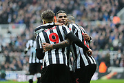 Kenedy (#15) of Newcastle United celebrates Newcastle United's second goal (2-0) with DeAndre Yedlin (#22) of Newcastle United and Dwight Gayle (#9) of Newcastle United during the Premier League match between Newcastle United and Southampton at St. James's Park, Newcastle, England on 10 March 2018. Picture by Craig Doyle.