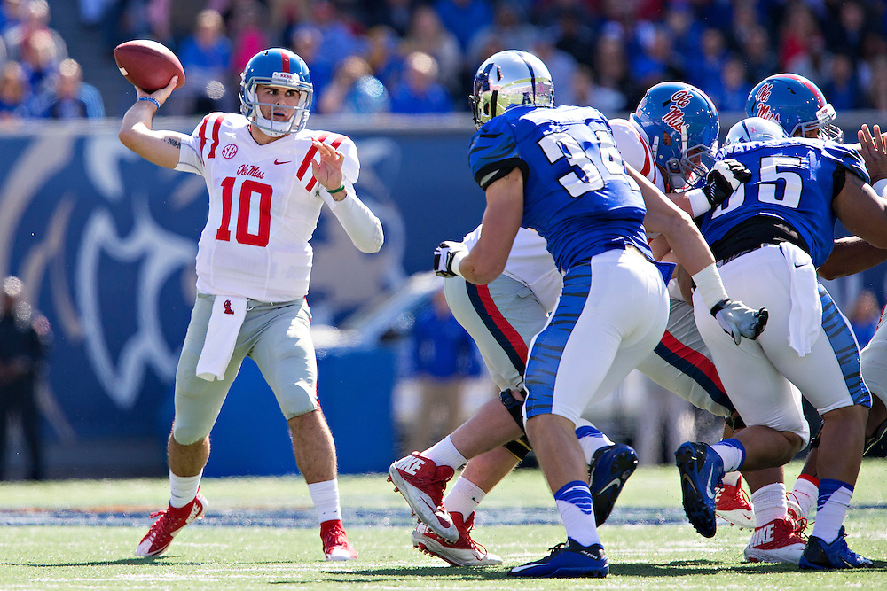 MEMPHIS, TN - OCTOBER 17:  Chad Kelly #10 of the Ole Miss Rebels throws a pass during a game against the Memphis Tigers at Liberty Bowl Memorial Stadium on October 17, 2015 in Memphis, Tennessee.  The Tigers defeated the Rebels 37-24.  (Photo by Wesley Hitt/Getty Images) *** Local Caption *** Chad Kelly