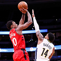 01 November 2017: Toronto Raptors guard DeMar DeRozan (10) takes a jump shot over Denver Nuggets guard Gary Harris (14) during the Denver Nuggets 129-111 victory over the Toronto Raptors, at the Pepsi Center, Denver, Colorado, USA.