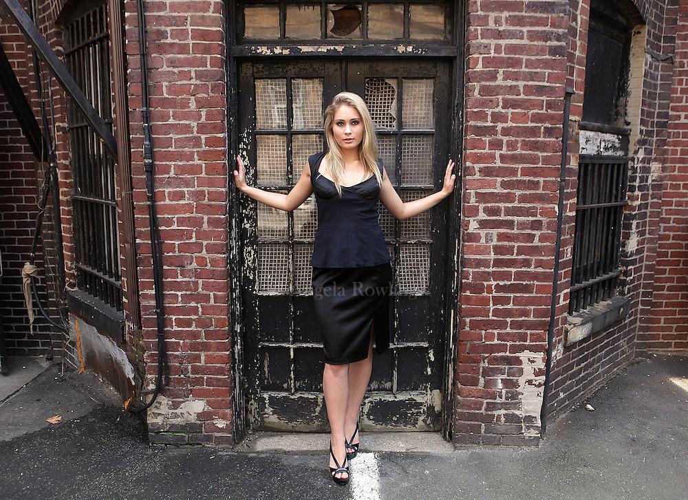 (080911  Boston, MA) Nicole Sirois of The Beauty Within models fashion from Christina K. Pierce on Newbury Street, Tuesday,  August 09, 2011.  Staff photo by Angela Rowlings.