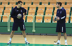 Klemen Cehte and David Korazija at practice of Slovenian handball men national team before going to Israel, on October 27, 2008 in Lasko, Slovenia. (Photo by Vid Ponikvar / Sportal Images)
