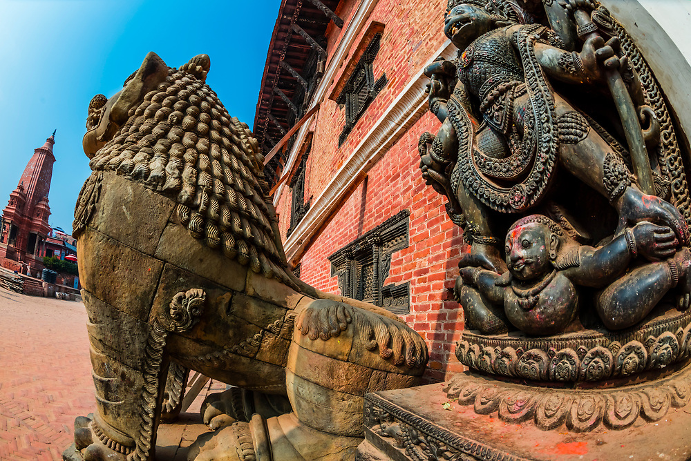 Stone carvings outside the National Art Gallery, Durbar Square, Bhaktapur, Kathmandu Valley, Nepal.