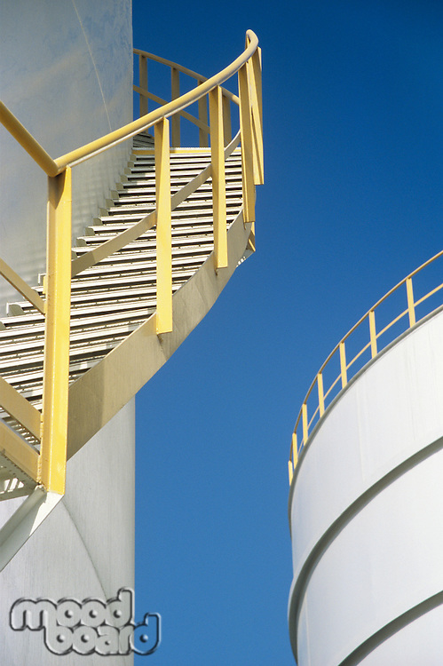 Yellow Stairway on outdoor Storage Tank