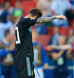 MOSCOW, RUSSIA - Saturday, June 16, 2018: Argentina's Lionel Messi looks dejected during the FIFA World Cup Russia 2018 Group D match between Argentina and Iceland at the Spartak Stadium. (Pic by David Rawcliffe/Propaganda)