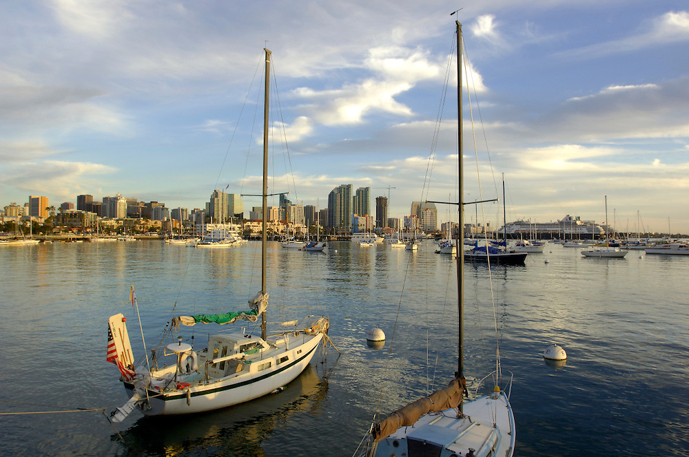 Sailboats and Downtown San Diego, California, United States of America