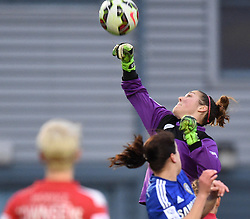 Bristol Academy's Mary Earps punches away a Chelsea ball - Photo mandatory by-line: Paul Knight/JMP - Mobile: 07966 386802 - 02/04/2015 - SPORT - Football - Bristol - Stoke Gifford Stadium - Bristol Academy Women v Chelsea Ladies - FA Women's Super League