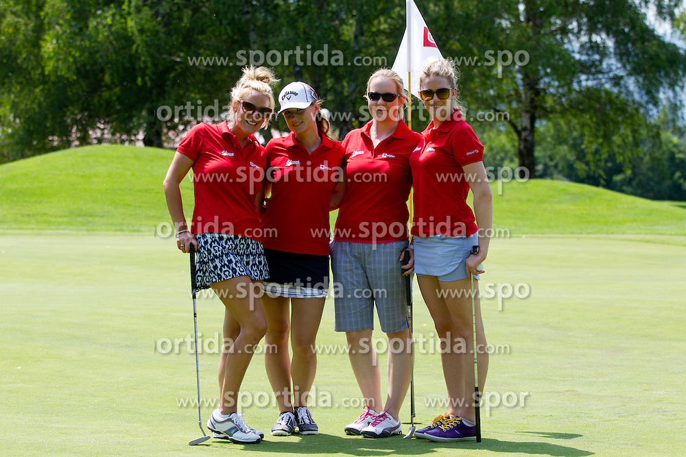 Kelly Williams, Ines Dominc, Manca Marc and Kelsey Rae Braunecker at Anze's Eleven and Triglav Charity Golf Tournament, on June 30, 2012 in Golf court Bled, Slovenia. (Photo by Matic Klansek Velej / Sportida)