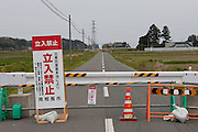 A road block on a country road at the border of the 20 kilometre exclusion zone around the damaged Fukushima Daichi nuclear power station. Minami Soma, Fukushima, Japan May 3rd 2011