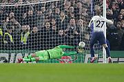 PENALTY Chelsea goalkeeper Kepa Arrizabalaga (1) saves a penalty kick from Tottenham Hotspur midfielder Lucas (27) during the EFL Cup semi final second leg match between Chelsea and Tottenham Hotspur at Stamford Bridge, London, England on 24 January 2019.