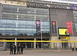 Armed security outside of the Signal Iduna Park home of Borussia Dortmund.