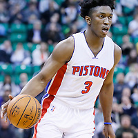 25 January 2016: Detroit Pistons forward Stanley Johnson (3) brings the ball up court during the Detroit Pistons 95-92 victory over the Utah Jazz, at the Vivint Smart Home Arena, Salt Lake City, Utah, USA.