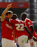 Tony Watt celebrates his second half opener during the Sky Bet Championship match between Charlton Athletic and Queens Park Rangers at The Valley, London, England on 8 August 2015. Photo by Andy Walter.