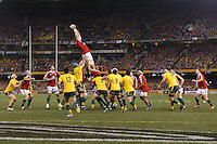MELBOURNE, 29 JUNE - The Lions win a line out during the Second Test match between the Australian Wallabies and the British & Irish Lions at Etihad Stadium on 29 June 2013 in Melbourne, Australia. (Photo Sydney Low / asteriskimages.com)