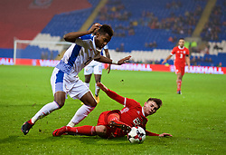 CARDIFF, WALES - Tuesday, November 14, 2017: Wales' Ben Woodburn and Panama's Michael Amir Murillo during the international friendly match between Wales and Panama at the Cardiff City Stadium. (Pic by David Rawcliffe/Propaganda)