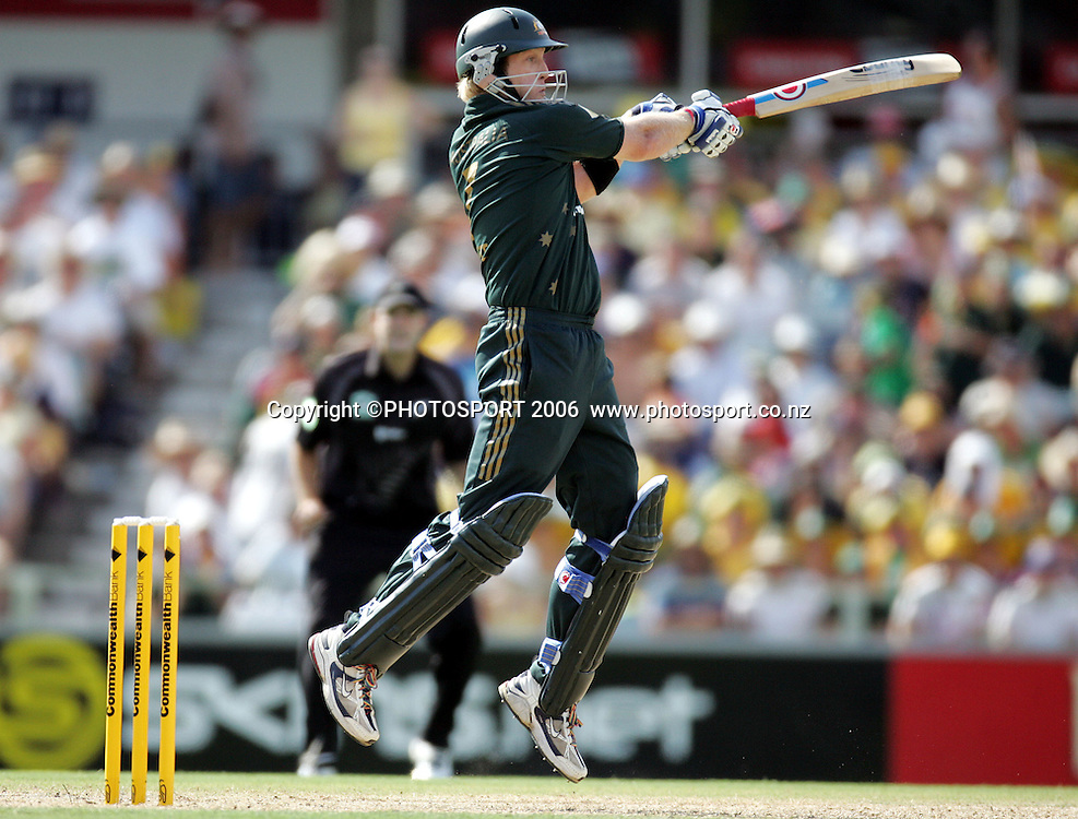 Australian allrounder Cameron White batting during the one day international cricket match between New Zealand and Australia at the WACA ground in Perth on Sunday 28 January, 2007. Australia made 343/5 after winning the toss and batting first. Photo: Andrew Cornaga/PHOTOSPORT<br />