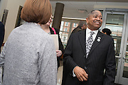 President Roderick McDavis, greets attendees following the ribbon cutting for the Gladys W. and David H. Patton College of Education's newly renovated McCracken Hall held on January 27, 2017.