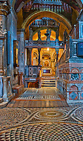 Side chapel with a bluish hue in St. Mark's Basilica in Venice, Italy.