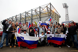 Supporters of Slovenia prior to the EURO 2012 Qualifications game between National teams of Slovenia and Northern Ireland, on March 29, 2011, in Windsor Park Stadium, Belfast, Northern Ireland, United Kingdom. (Photo by Vid Ponikvar / Sportida)