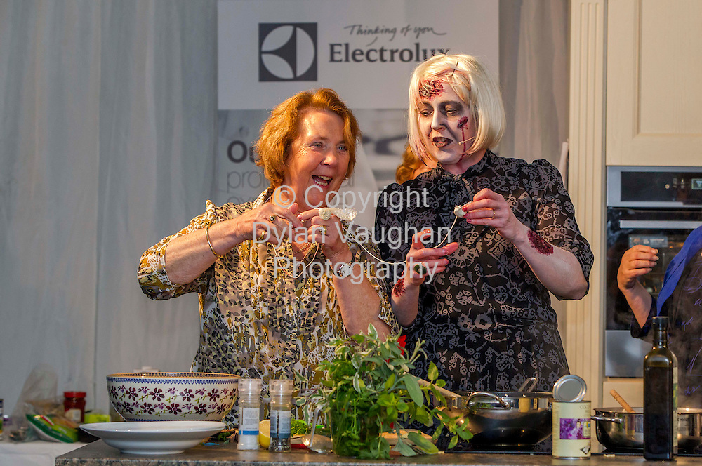 28/10/2012.Mother and daughter Catherine and Trish (right) Duff pictured taking part in the domestic goddesses cook-off at the Savour Kilkenny Food Festival in Kilkenny. .Picture Dylan Vaughan.