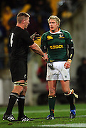 Brad Thorn shakes hands with a bloodied Jean De Villiers after the final whistle.<br /> Philips Tri Nations, All Blacks vs South Africa at Westpac Stadium, Wellington, New Zealand, Saturday 5 July 2008. Photo: Dave Lintott/PHOTOSPORT