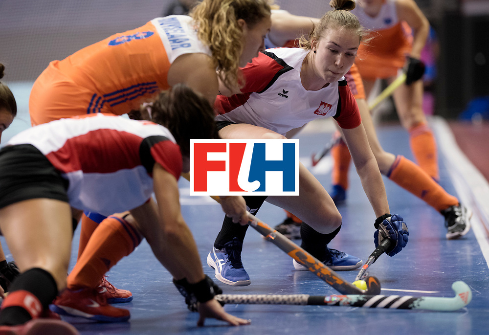 BERLIN - Indoor Hockey World Cup<br /> Women: Poland - Netherlands<br /> foto: SLAWINSKA Paula.<br /> WORLDSPORTPICS COPYRIGHT FRANK UIJLENBROEK