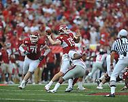 Arkansas quarterback Ryan Mallett (15) passes at Reynolds Razorback Stadium in Fayetteville, Ark. on Saturday, October 23, 2010.