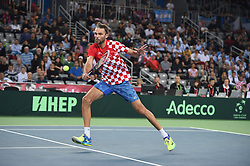 Croatia Ivo Karlovic during his match against Argentina Juan Martin Del Potro at the Davis Cup final tie between Croatia and Argentina at the Arena, in Zagreb, Croatia on November, 25, 2016. Photo by Corinne Dubreuil/ABACAPRESS.COM