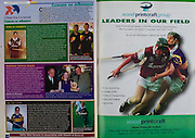 All Ireland Senior Hurling Championship Final,.09.09.2001, 9th September 2001,.Minor Cork 2-10, Galway 1-8,.Senior Tipperary 2-18, Galway 2-15,  .09092001AISHCF,.wood printcraft,