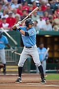 Brett Eibner (24) of the Northwest Arkansas Naturals stands at bat during a game against the Springfield Cardinals at Hammons Field on August 23, 2013 in Springfield, Missouri. (David Welker)