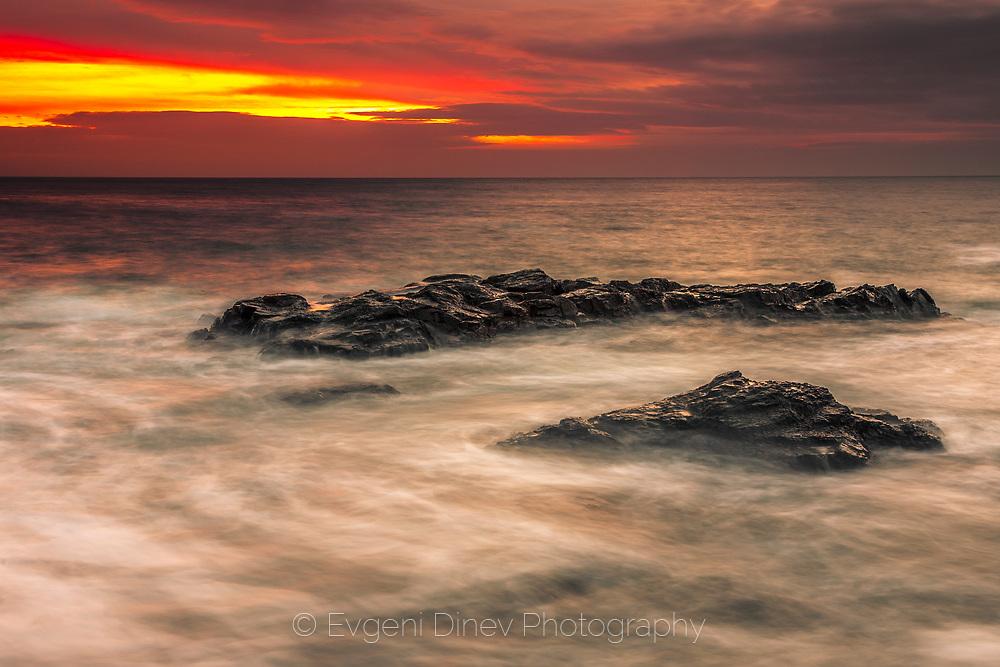 Winter seascape at dawn on the Black Sea coast