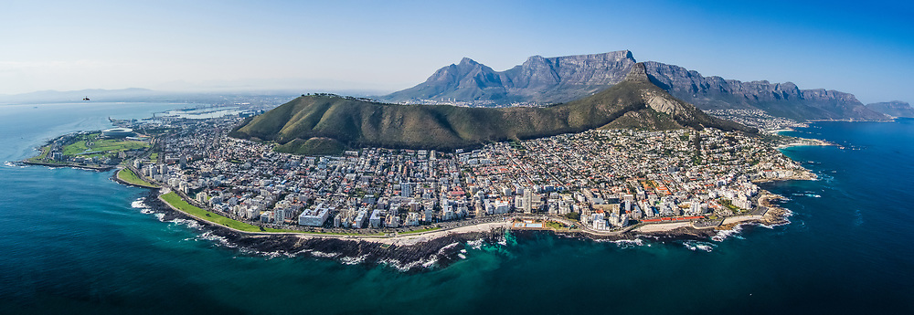 Aerial panorama of Cape Town, Western Cape, South Africa taken from gyrocopter.