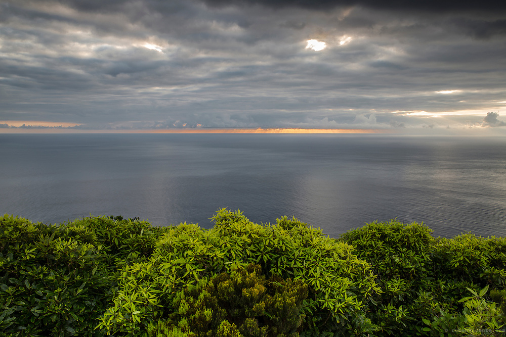 Cloudy sunset over Flores west coast. Azores, Portugal
