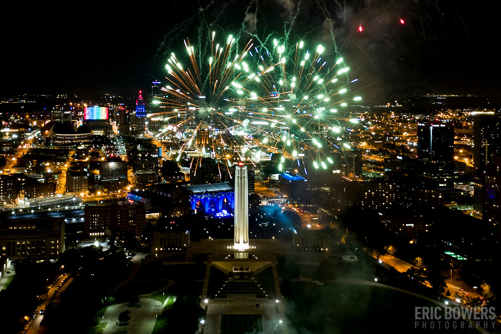 Fireworks at Liberty Memorial, Celebration At The Station, Memorial Day weekend, 2018, Kansas City, Missouri.