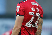 EFL branding on the shirt of Morecambe's Max Müller(22) during the EFL Sky Bet League 2 match between Morecambe and Mansfield Town at the Globe Arena, Morecambe, England on 27 January 2018. Photo by Paul Thompson.