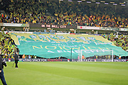 Norwich City fans with a giant flag during the EFL Sky Bet Championship match between Norwich City and Sheffield Wednesday at Carrow Road, Norwich, England on 19 April 2019.