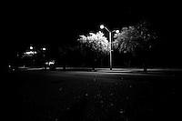 Treasure Island parking lot at night, in San Francisco Bay. Copyright 2013 Reid McNally.
