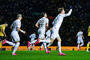 Leeds United forward Patrick Bamford (9) scores a goal and celebrates to make the score 1-2 during the EFL Sky Bet Championship match between Leeds United and Millwall at Elland Road, Leeds, England on 28 January 2020.