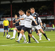 Raith Rovers's Martin Scott and Kevin Moon combine to shut out Dundee's Iain Davidson - Dundee v Raith Rovers, Scottish League Cup at Dens Park<br /> <br />  - &copy; David Young - www.davidyoungphoto.co.uk - email: davidyoungphoto@gmail.com