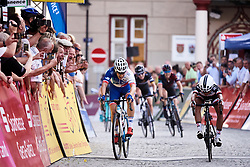 Sprint finish between Coryn Rivera (USA) and Roxane Fournier (FRA) at Lotto Thuringen Ladies Tour 2018 - Stage 1, an 82.5 km road race starting and finishing in Schleusingen, Germany on May 28, 2018. Photo by Sean Robinson/Velofocus.com