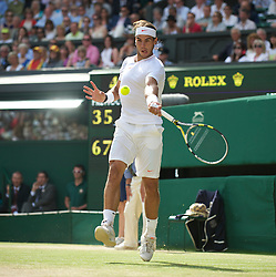 LONDON, ENGLAND - Sunday, July 4th, 2010: Rafael Nadal (ESP) during the Gentlemen's Singles Final match on day thirteen of the Wimbledon Lawn Tennis Championships at the All England Lawn Tennis and Croquet Club. (Pic by David Rawcliffe/Propaganda)