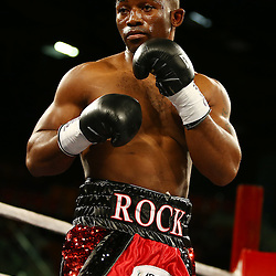 "DURBAN, SOUTH AFRICA - MAY 16: Thabiso ""THE ROCK"" Mchunu during the WBC Eliminator bout bout between Thabiso ""THE ROCK"" Mchunu and Ilunga ""JUNIOR"" Makabu at Inkosi Albert Luthuli ICC on May 16, 2015 in Durban, South Africa. (Photo by Steve Haag)"