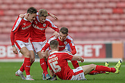 Marley Watkins (Barnsley) celebrates scoring the opening goal of the game. 1-0 to Barnsley during the Sky Bet League 1 match between Barnsley and Bury at Oakwell, Barnsley, England on 7 February 2016. Photo by Mark Doherty.