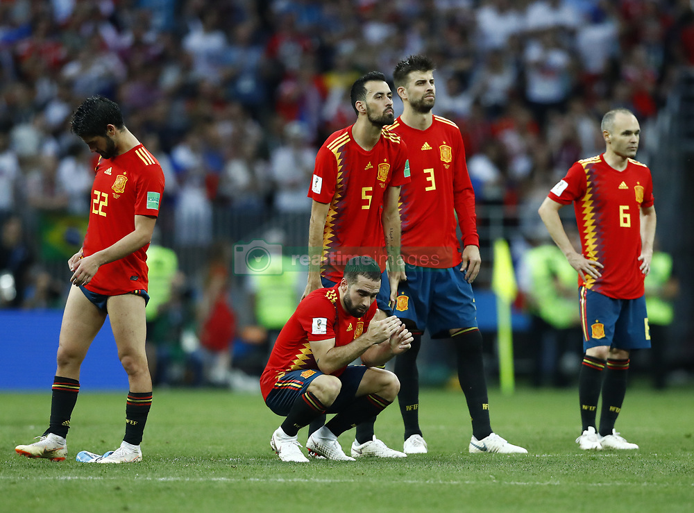July 1, 2018 - Moscow, Russia - Round of 16 Russia v Spain - FIFA World Cup Russia 2018.Isco, Busquests, Carvajal, Pique and Iniesta disappointment during the penalties at Luzhniki Stadium in Moscow, Russia on July 1, 2018. (Credit Image: © Matteo Ciambelli/NurPhoto via ZUMA Press)