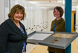 Pictured: Scottish Government Public Libraries Funding Announcement. Culture Minister Fiona Hyslop announces this year's successful bids to the £450,000 Public Library Improvement Fund (PLIF) at the John Grey Centre, Haddington Library, Haddington, East Lothian, Scotland, United Kingdom.  PLIF has been supporting innovative library projects since 2006 which help both individuals and communities. Fiona Hyslop visits the archives of East Lothian to see Haddington's 700 year old charter from Robert the Bruce, the anniversary of which is being celebrated this year, 13 December 2018  <br /> <br /> Sally Anderson | EdinburghElitemedia.co.uk