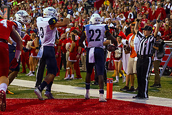 NORMAL, IL - September 21: Joe Logan makes his way to the goal line with Jen Berke making the signal during a college football game between the ISU (Illinois State University) Redbirds and the Northern Arizona University (NAU) Lumberjacks on September 21 2019 at Hancock Stadium in Normal, IL. (Photo by Alan Look)